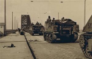 Tanks crossing bridge.
