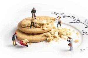 Small men on biscuits